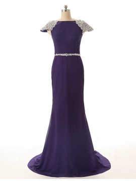 Dramatic Purple Mermaid Bateau Cap Sleeves Beading Long Prom Dress