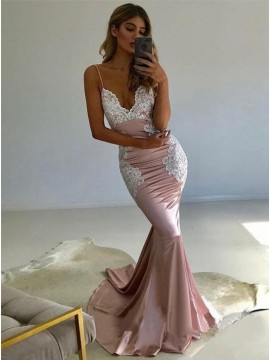 Sexy Spaghetti Straps Sweep Train Backless Pink Prom Dress with Appliques