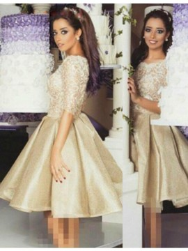 Modern Gold Crew Half Sleeves Knee-Length with Lace Prom Dress
