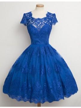 Modern Blue A-Line Square Short Sleeves Open Back Short Prom Dress