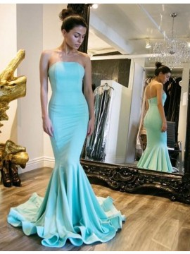 Simple Turquoise Strapless Sleeveless Floor-Length Pleats Prom Dress