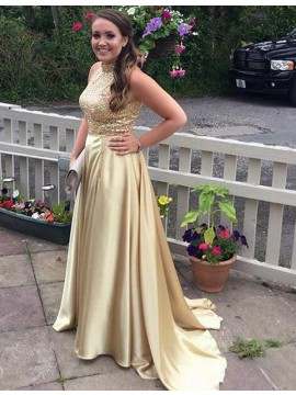 Dramatic Gold High Neck Sleeveless Sweep Train Sequins Prom Dress