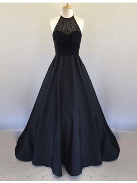 Exquisite Black Halter Sleeveless Backless Beading Long Prom Dress