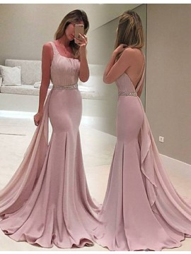 Decent Blush Mermaid Square Sleeveless Detachable Beading Backless Prom Dress