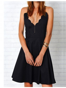 Chic Black Spaghetti Straps Sleeveless Above-Knee Backless Homecoming Cocktail Dress