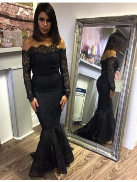 Mermaid Off the Shoulder Long Sleeves Sweep Train Black Lace Prom Dress