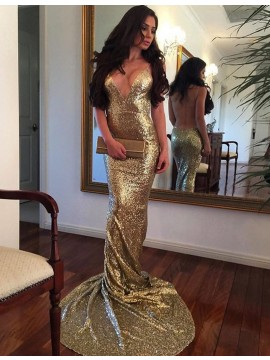 Mermaid Deep V-Neck Sleeveless Backless Sweep Train Gold Sequined Prom Dress