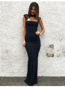 Mermaid High Neck Cap Sleeves Keyhole Floor Length Navy Blue Prom Dress with Lace