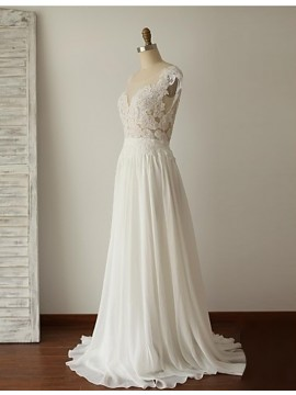 A-Line Round Neck Cap Sleeveless Backless Sweep Train White Prom Dress with Lace
