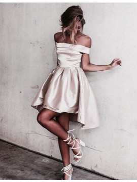 A-Line  Off-the-Shoulder High Low Champagne Satin Homecoming Dress