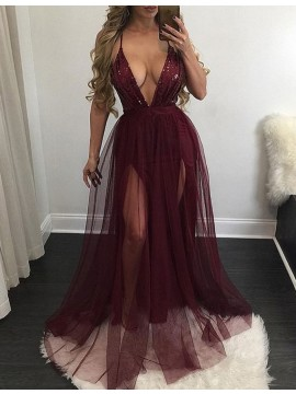 Sexy Burgundy Deep V-Neck Sleeveless Floor-Length Sequins Prom Dress