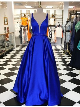 A-Line Deep V-Neck Sleeveless Floor-Length Royal Blue Prom Dress with Beading
