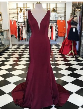 Mermaid Deep V-Neck Sleeveless Sweep Train Elastic Satin Burgundy Prom Dress