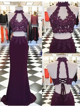 Two Piece Round Neck Long Grape Mermaid Prom Dress with Appliques