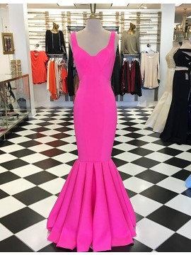 Mermaid V-Neck Sleeveless Floor-Length Fuchsia Prom Dress with Pleats