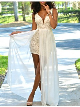 Sheath Deep V-Neck Sleeveless Floor Length Backless Ivory Prom Dress with Lace