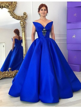 A-Line Sweetheart Sleeveless Floor Length Royal Blue Prom Dress with Beading Pleats