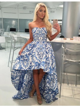 A-line Strapless Sleeveless High Low Blue Printed Prom Dress with Pleats