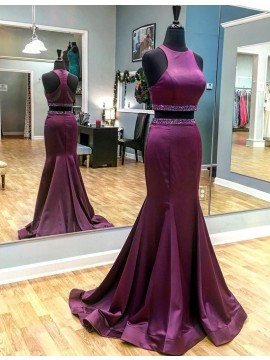 Two Piece Mermaid Round Neck Sweep Train Grape Prom Dress with Beading