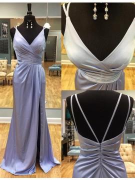 Sheath V-Neck Backless Floor Length Split Front Lavender Prom Dress with Ruched