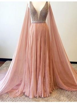 A-line V-Neck Sleeveless Watteau Train Peach Prom Dress with Beading