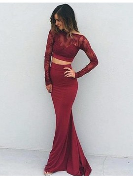 Charming Burgundy Bateau Long Sleeves Long Backless Mermaid Prom Dress with Lace