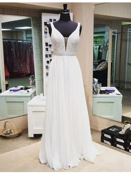 Glamorous White V-neck Sleeveless Floor Length Prom Dress with Beading