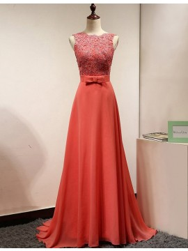 Chic Coral Scalloped-Edge Sweep Train Backless Prom Dress with Lace Bowknot