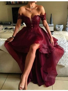 Fashion Burgundy Off the Shoulder High Low Backless Prom Dress with Lace
