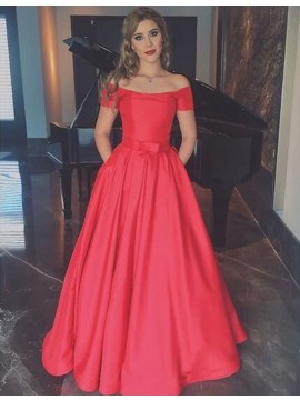 Simple Red Off the Shoulder Short Sleeves Floor Length Prom Dress with Bowknot