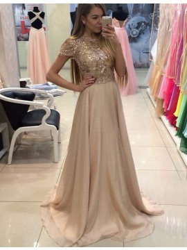 Exquisite Apricot Bateau Cap Sleeves Sweep Train Prom Dress with Beading Sequins