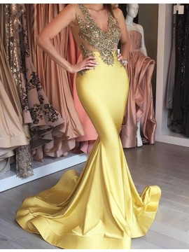 Trendy Yellow Deep V-neck Sweep Train Mermaid Prom Dress with Beading Appliques