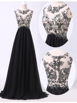 Elegant Black Crew Neck Long A-line Prom Dress with Beading Lace