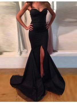 Simple Black Sweetheart Sleeveless Sweep Train Split Mermaid Prom Dress