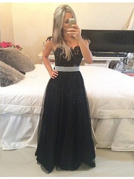 Fancy Black Crew Neck Cap Sleeves Floor Length Prom Dress with Beading Lace