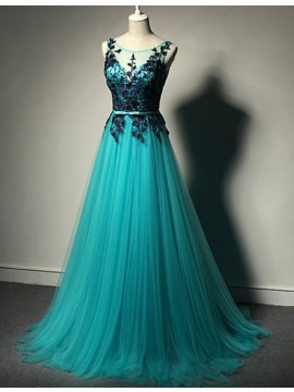 Honorable Turquoise Crew Neck Sweep Train A-line Prom Dress with Appliques
