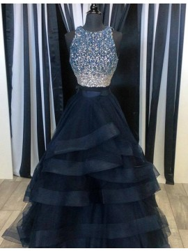 Navy Blue Floor-length Crew Neck Sleeveless Tiered Prom Dress with Beading