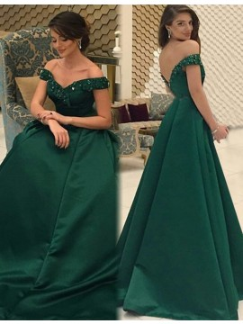 Hunter Backless Off the Shoulder Sweep Train Long Prom Dress with Beading