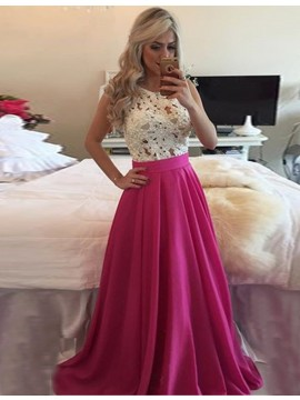 Fuchsia Crew Neck Sleeveless A-line Long Prom Dress with Lace Pearls