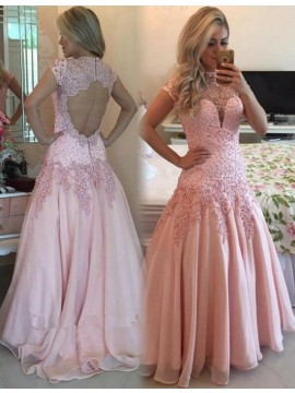 Pink Open Back Short Sleeves Bateau Long Prom Dress with Beading Appliques
