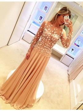 A-line Long Sheer Sleeves Appliques Champagne Bateau Sweep Train Prom Dress