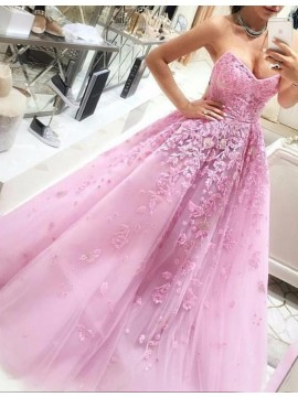 Pink Ball Gown Lace Appliques Sweetheart Sleeveless Long Prom Dress