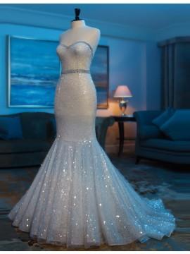 Mermaid Lace Beading Ivory Sequins Sweetheart Sleeveless Long Prom Dress
