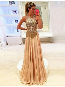 A-line Beading Round Neck Sleeveless Champagne Long Prom Dress