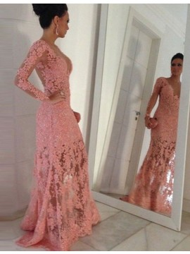Pink Sheath Lace Illusion Back Long Sleeves Beading Scoop Long Prom Dress
