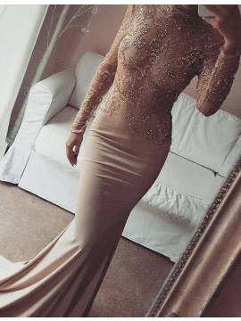 Champagne Mermaid Long Sleeves Lace Open Back Bateau Beading Prom Dress