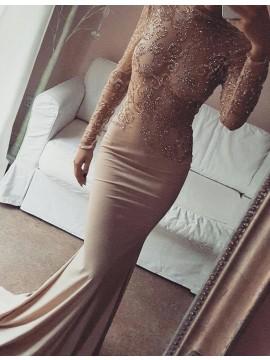 Champagne Mermaid Long Sleeves Lace Open Back Bateau Beading Prom Dress