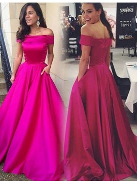 Fuchsia Pockets Off the Shoulder Sweep Train A-line Prom Dress