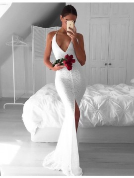 White Mermaid Lace Backless Deep V-neck Split Front Sweep Train Prom Dress