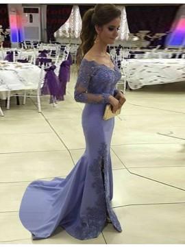 Mermaid Lace Long Sleeves Scoop Sweep Train Split Lavender Beading Prom Dress